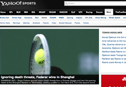 Yahoo! Tennis Landing Page during the Roger Federer death threat