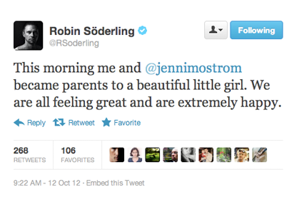 Robin Soderling tweets about baby daughter