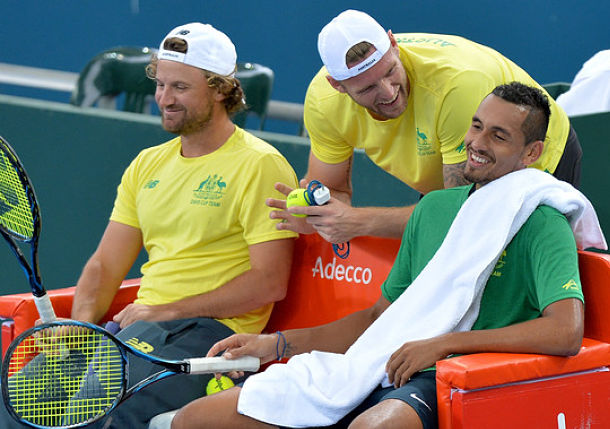 Nick Kyrgios guides Australia past U.S.  in Davis Cup