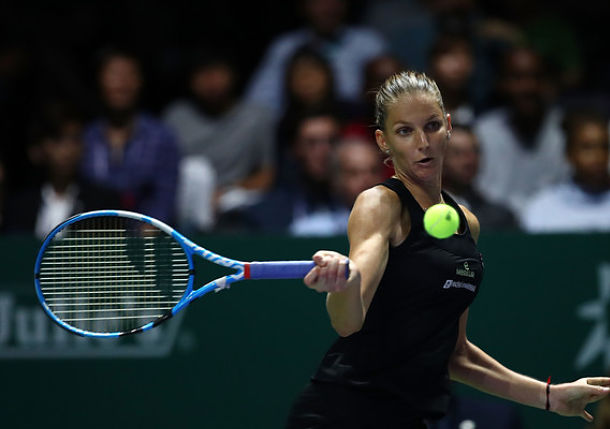 Pliskova Stops Defending Champion Wozniacki on Singapore's Opening Night